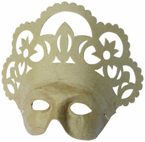 Décopatch AC315O Maske Karneval Königin aus Pappmaché, 10 x 26 x 21,5 cm, zum Verzieren, (Französisch Masken)