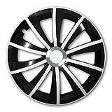 (Farbe und Größe wählbar) 16 Zoll Radkappen GRAL Bicolor (Schwarz/Weiß), passend für fast alle Fahrzeugtypen (universal)
