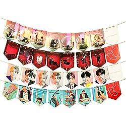 Banderines para colgar con diseño de mapa del alma de BTS, 28 unidades, para fiestas de cumpleaños o decoración del hogar