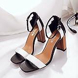 WHL Shoes Hochhackige Schuhe Sandalen Geschlitzten Hasp Dick Mit Sommer Zauber Farbe High-Heeled Und Vielseitigen Stil Weiß 35