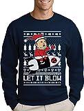 Nordkoreanische Weihnachten Männer Weihnachtspullover - Let It Blow Sweatshirt X-Large Marineblau