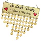 MagiDeal Wandkalender Holz Kalender Deko Kalender, Geburtstag Jahrestag zum Notizen, Wandplaner zum Aufhängen - 5 Muster - The Smith Family