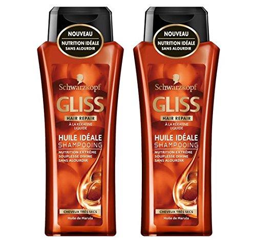 Schwarzkopf Gliss Shampoing pour Cheveux Très Secs Huile Idéale Marula Flacon de 250 ml - Lot de 2