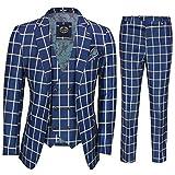 Xposed Grande Blu Bold Windowpane 3 Tuta Vintage 1920 Uomo Intelligente Tailored Fit[SUIT-K160067-72-C9-BLUE-40]