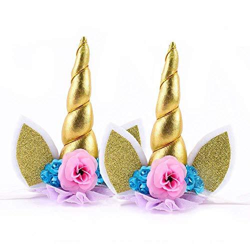 Einhorn Horn Stirnband Glänzendes Haarreifen Elastisches Haarband für Kinder 2Pcs(Gold)
