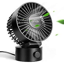 SIMBR Ventilateur USB, Mini Ventilateur de Bureau Portable Silencieux, Tête Réglable à 2 Vitesses, Double Lames avec Câble USB de 1,8m, Certifié par CE, ROHS et FCC, Noir