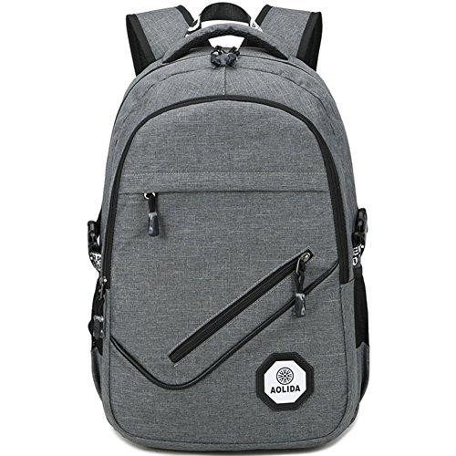Zaino Computer portatile impermeabile Backpack con preso USB per escursionismo/Ufficio/Scolastico/caso/Viaggio/Unisex Ragazza Donna Ragazzo Uomo 15.6pouces grigio grigio