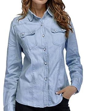 LuckyGirls Mujer Camisetas Manga Larga Camisa Vaquera Bolsillo Tops Blusa Sudaderas Camisas