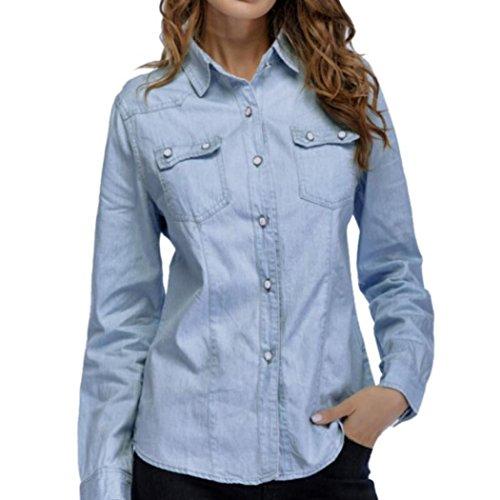 LuckyGirls ❤️• •❤️ Mujer Camisetas Manga Larga Camisa Vaquera Bolsillo Tops Blusa Sudaderas Camisas (S, Azul)