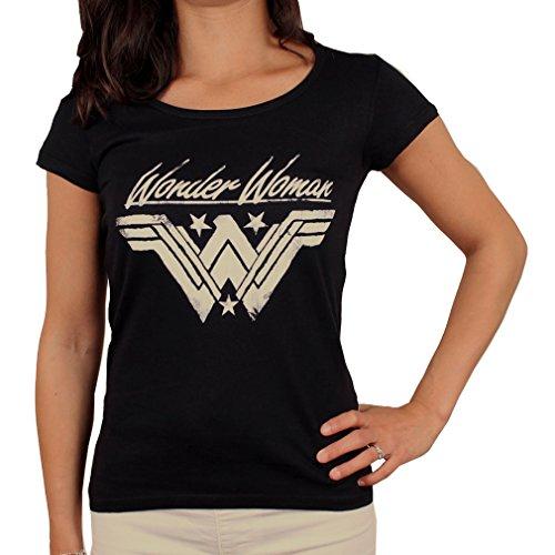 Wonder Woman Damen T-Shirt - Grunge Logo L - T-shirts Frauen Wonder Für Woman