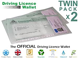 Driving Licence License Wallet Cover Holder Plastic Vinyl Theory Test Twin Pack Amazon Co Uk