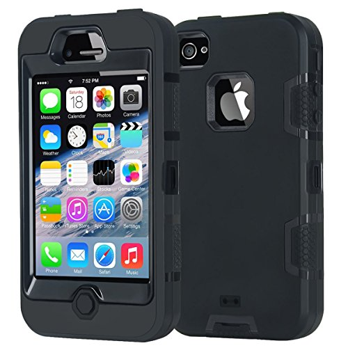 , Apple iPhone 4 4S Case, stoßfest Heavy Duty Combo Hybrid Defender High Impact Körper Rugged Hard PC & Silikon Fall Schutzhülle für Apple iPhone 4 4S (schwarz) ()