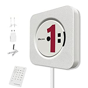 KECAG lettore CD Montabile a parete Speaker Bluetooth portatile Home Audio con telecomando FM Radio Collegamento HIFI Speaker USB MP3 3,5 mm cuffie jack AUX Input/Output, Bianco …