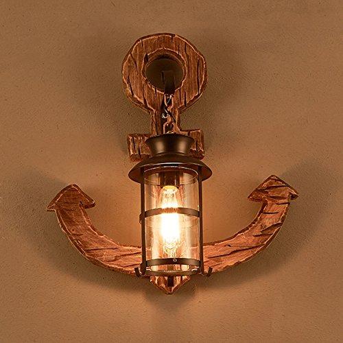 GKJ Rétro en bois Art lampe de mur, loft industriel vents salle de séjour Creative décoration lampe de mur Internet café cafés restaurant bar lampe murale d'ancrage simple tête E27 ( taille : 51*55CM )