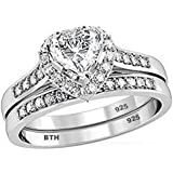 Ladies Ring Set-925 Sterling Silver Luxury Unique Heart Shape Cubid Zirconia Wedding Engagement Bridal Set Band Ring/Comes with Luxury Gift Box