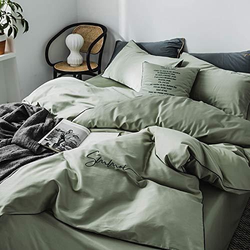 yaonuli Baumwollstickerei Vierteilige einfarbige bestickte Baumwolle Matcha Green Vierteilige Bettlaken-1,8 m [geeignet für 200 * 230 Steppdecke]