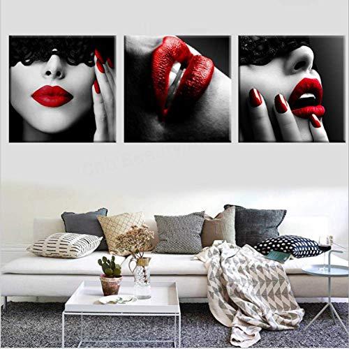 Impresiones lienzo 3 Labios rojos belleza sexy pintura