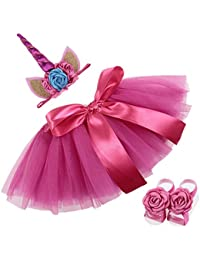 COUXILY Falda del tutú para Niñas Pequeñas Fotos de Disfraces de Ballet con Unicornio Flor Diadema para Little Pony Dress Up diversión