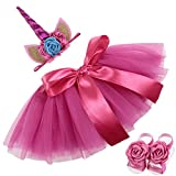 COUXILY Falda del tutú para Niñas Pequeñas Fotos de Disfraces de Ballet con Unicornio Flor Diadema para Little Pony Dress Up diversión (Cereza)
