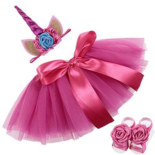 COUXILY Mädchen Tüllrock Tutu Ballettrock mit Einhorn Horn Unicorn Haarband Ohren und Blumen für 0-2 Jahre (Rose)
