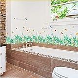 Sshssh Schmetterling Baseboard Grün Gras Blumen Wasserdicht Abnehmbare Art Vinyl Wandaufkleber Wohnzimmer Schlafzimmer Wandtattoo Wohnkultur 50 * 70 Cm