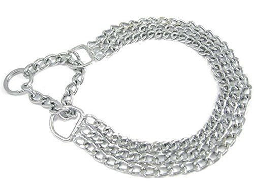 Halskette Dreireihig mit Zugstopp für Hunde - Dressurhalsband - Allen Längen und Stärken