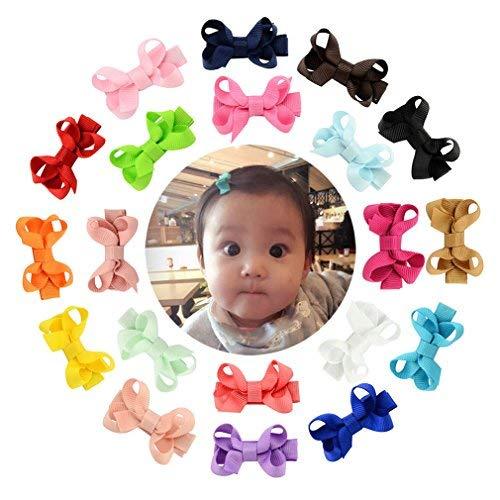 Boboder Kleine Haarspangen Grosgrain Ribbon Hair Bow Krokodilklemmen für Neugeborene Kleinkinder 20pcs Ribbon Bow Stirnband