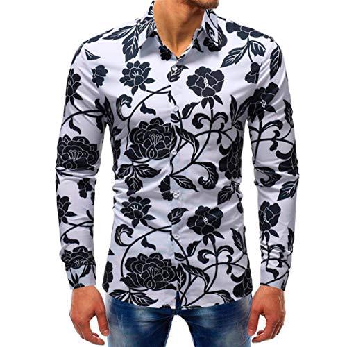 YunYoud Printed Blouse Casual Long Sleeve Slim Shirts Tops herren hemd slim fit schwarz kurzarm grün kurzarmhemden für blau rot kariertes graues männer weiß modische hemden