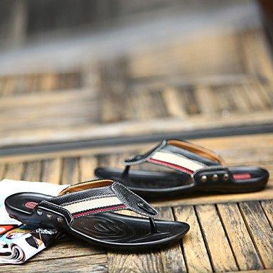 Sandales d'été chaussures d'hommes dehors / Cuir / toile occasionnels Tong Noir / Bleu Blue