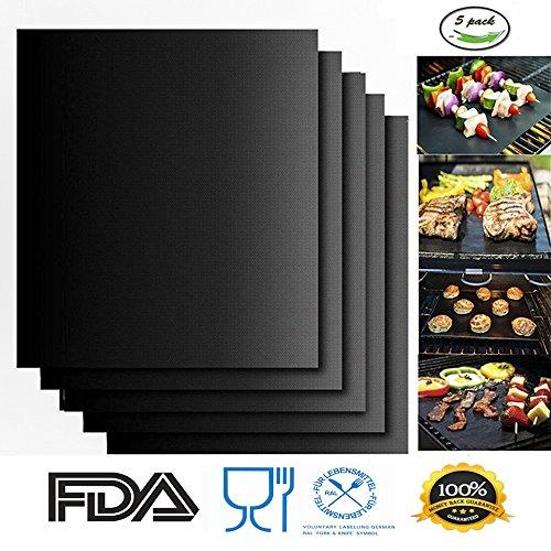 BBQ Grillmatte Set mit 5,100% Antihaft-Barbecue Grill & Backoffen Matten - FDA-genehmigt, PFOA frei, wiederverwendbar und einfach zu reinigen - funktioniert auf Elektro, Gas und Kohle - 15,75