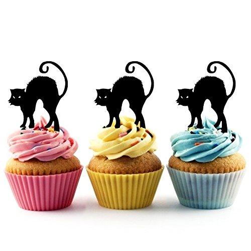 Innovedesire Black Cat Halloween Kuchenaufsätze Hochzeit Geburtsta Acryl Dekor Cupcake Kuchen Topper Stand für Kuchen Party Dekoration 10 Stück