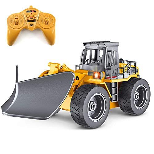 FFENGG Elektrische Bagger Spielzeug, 1/18 Fernbedienung 6 Kanal Bagger Spielzeug BAU LKW Engineering Fahrzeug Ferngesteuerte Spielzeug