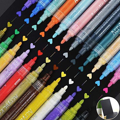 JK Acryl Paint Marker Stifte, Permanent Paint Art Marker Pen Set, mit Zeichenbuch, für Steinmalerei, Stein, Keramik, Glas, DIY Handwerk 143 X 15 MM 24 Colors -