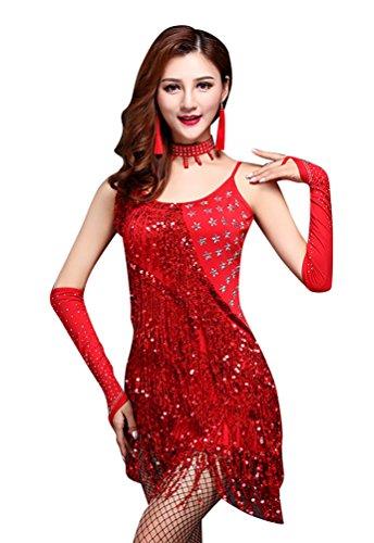 NiSeng Donne abiti ballo latino strass frange di paillettes danza latine gonne abiti danza Rosso