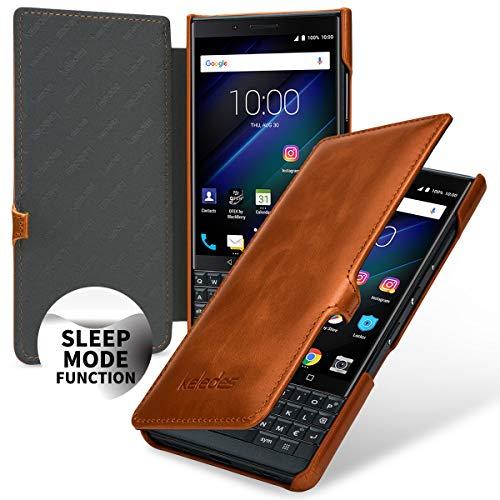 keledes Book Type Hülle Leder-Tasche für BlackBerry KEY2 LE, Lederhülle Flip-Case Handyhülle aus Echtleder für BlackBerry KEY2 LE   Smart-Cover On-/Off-Funktion, Cognac mit Clip