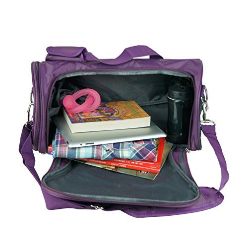 wenhao Travel Small Duffel Sports Gym Gepäck Tasche, damen, Pink with shoes compartment Purple with shoes compartment