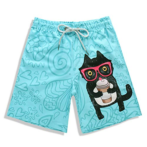 Herren Sport Shorts Jogginghose Kordelzug3D-Druck Brille Katze Tarnung Strand schnell trocknende Badehose blau XXXL