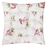 WOMETO Sitzkissen Stuhlkissen ROSI 40x40x4 Rosen - rosa weiß Auflage Landhaus