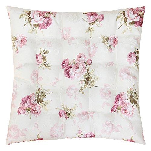 Sitzkissen Stuhlkissen ROSI 40x40x4 Rosen - rosa weiß Auflage Landhaus
