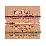 KELITCH Armbänder Damen Herren Paare Mehrfarben Baumwolle Thread Handmade 3 Stück Freundschaft Armreif Charme Armbänder Mädchen Armband Männer (E)