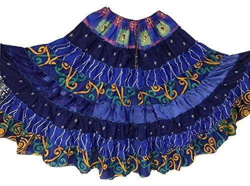 1 - 7 Yard Tribal Zigeuner Maxi Taille Rock Bauchtanz Röcke Silk Blend Banjara Für S M L XL, ONE SIZE 34 - 46 DUNKELBLAUE SCHATTEN