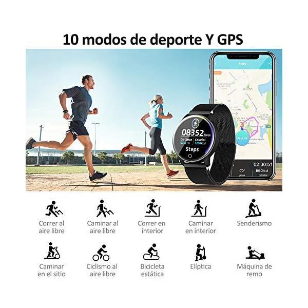 NAIXUES Smartwatch, Reloj Inteligente IP67 con Presión Arterial, 10 Modos de Deporte, Pulsómetro, Monitor de Sueño, Notificaciones Inteligentes, Smartwatch Hombre Mujer para iOS y Android (Negro) 3