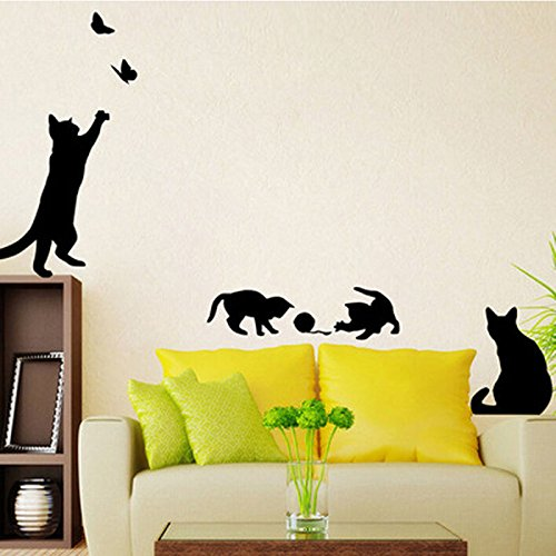 Katze kratzt Katze flattern Schmetterling Wohnzimmer Schlafzimmer Hintergrund Wanddekoration Malerei Wandaufkleber 57x21CM