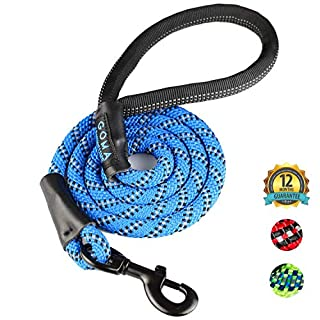 DOG LEAD by GOMA - Best Heavy Duty and Reflective Lead - 100% NYLON increased safety for night walking - For walking Medium and Large sized breeds - ergonomic grip made with mountain climbing rope