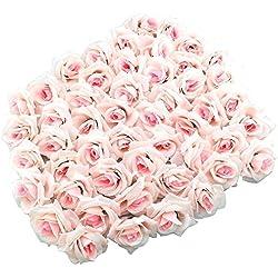 Yalulu 100 Stk. Mini Rosenköpfe Kunstrose Kunstblumen Rosenblüten Künstlicher Rosen Hochzeit Party Deko (Rosa)