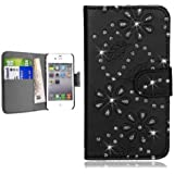 Iphone 5/5G/5S - Black Diamond Leather Wallet Flip Case Cover Pouch + Screen Protector & Polishing Cloth By Connect Zone�