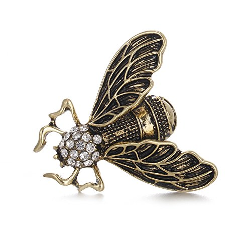 Und Vintage Kostüm Broschen Pins - Jecenka Brosche für Damen, 3D Brosche Pin Vintage Cicada Insekten-Brosche Pins Steampunk Bronze Strass Emaille Brosche Kostüm Schmuck