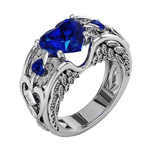 DAY.LIN Ringe Für Damen Ring Damen Der Herr Der Ringe Silber natürliche Rubin Edelsteine Birthstone Braut Hochzeit Engagement Herz Ring (Blau, 18mm)