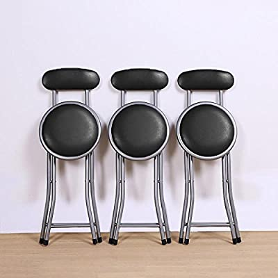 chinkyboo Black Round Padded Folding Chair Portable Foldable Bar Stool with Backs Kitchen Home Furniture - low-cost UK light shop.
