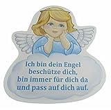 Schutzengel Taufgeschenk für Junge mit Engel in blau und mit Spruch ich pass auf dich auf - Wandbild als Deko für das Baby- bzw. Kinderzimmer aus unserer Reihe Geschenke zur Geburt und Taufe (22 x 24, blau)